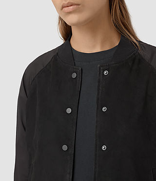 Damen Collison Suede Bomber Jacket (Washed Black) - product_image_alt_text_3