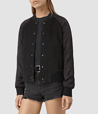 Damen Collison Suede Bomber Jacket (Washed Black) - product_image_alt_text_4