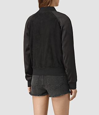 Mujer Collison Suede Bomber Jacket (Washed Black) - product_image_alt_text_5