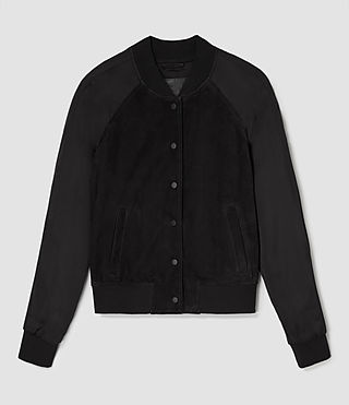 Damen Collison Suede Bomber Jacket (Washed Black) - product_image_alt_text_6