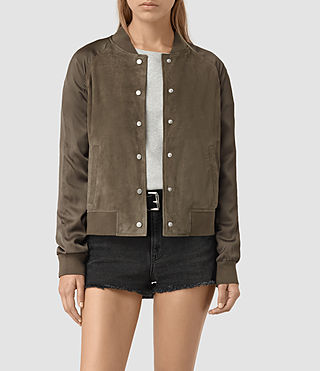 Womens Collison Suede Bomber Jacket (Khaki Green) - product_image_alt_text_1