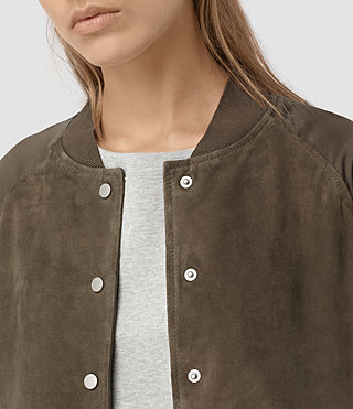Womens Collison Suede Bomber Jacket (Khaki Green) - product_image_alt_text_2