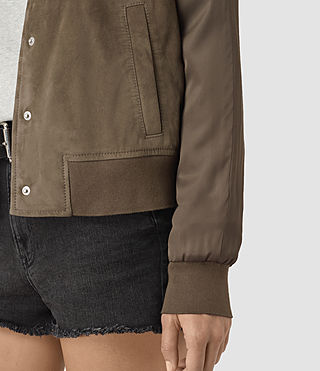 Damen Collison Suede Bomber Jacket (Khaki Green) - product_image_alt_text_3