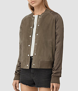 Womens Collison Suede Bomber Jacket (Khaki Green) - product_image_alt_text_4