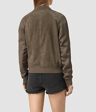 Womens Collison Suede Bomber Jacket (Khaki Green) - product_image_alt_text_5