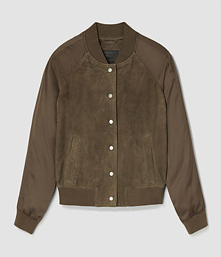 Womens Collison Suede Bomber Jacket (Khaki Green) - product_image_alt_text_6
