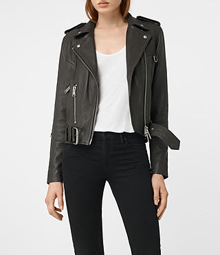 Womens Gidley Leather Biker Jacket (DARK SLATE GREY) - product_image_alt_text_1