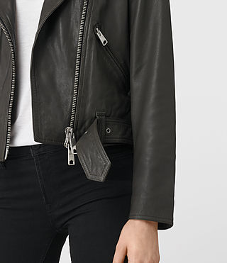 Womens Gidley Leather Biker Jacket (DARK SLATE GREY) - product_image_alt_text_2