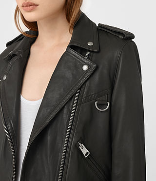 Womens Gidley Leather Biker Jacket (DARK SLATE GREY) - product_image_alt_text_3
