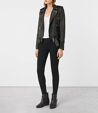 Womens Gidley Leather Biker Jacket (DARK SLATE GREY) - product_image_alt_text_4