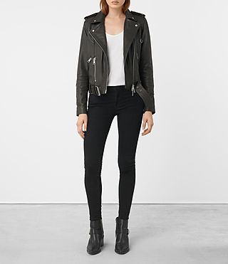 Womens Gidley Leather Biker Jacket (DARK SLATE GREY) - product_image_alt_text_5