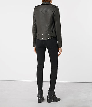 Womens Gidley Leather Biker Jacket (DARK SLATE GREY) - product_image_alt_text_6