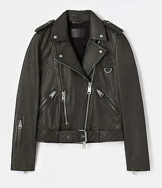 Womens Gidley Leather Biker Jacket (DARK SLATE GREY) - product_image_alt_text_7