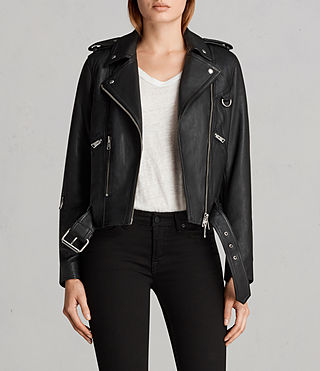 Womens Gidley Leather Biker Jacket (Black) - product_image_alt_text_1