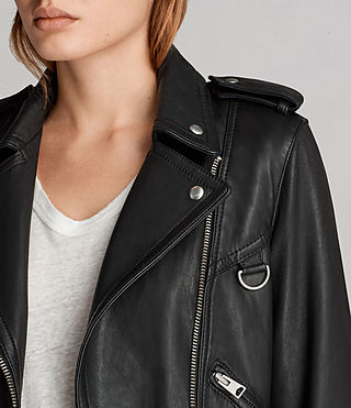 Womens Gidley Leather Biker Jacket (Black) - product_image_alt_text_2