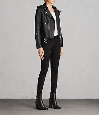 Womens Gidley Leather Biker Jacket (Black) - product_image_alt_text_3