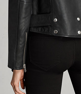 Womens Gidley Leather Biker Jacket (Black) - product_image_alt_text_4