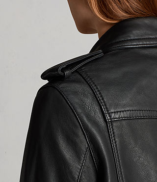 Womens Gidley Leather Biker Jacket (Black) - product_image_alt_text_5