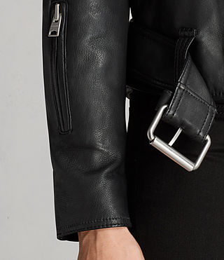Damen Gidley Leather Biker Jacket (Black) - product_image_alt_text_7