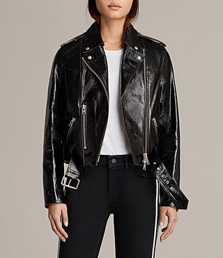 Womens Rigby Payton Leather Biker Jacket (Black) - Image 1