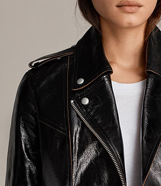 Womens Rigby Payton Leather Biker Jacket (Black) - Image 2