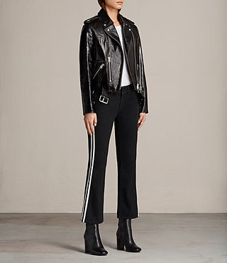 Womens Rigby Payton Leather Biker Jacket (Black) - Image 3