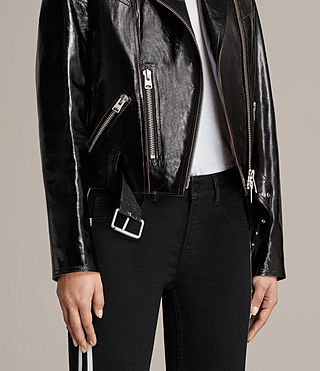 Womens Rigby Payton Leather Biker Jacket (Black) - Image 5