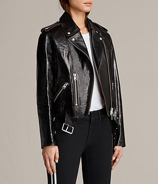 Womens Rigby Payton Leather Biker Jacket (Black) - Image 7