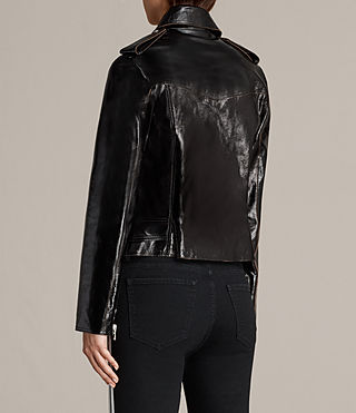 Womens Rigby Payton Leather Biker Jacket (Black) - Image 8