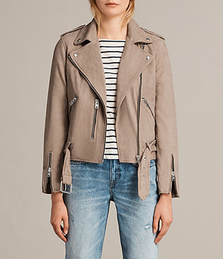 Mujer Balfern Leather Biker Jacket (MUSHROOM BROWN) - Image 1