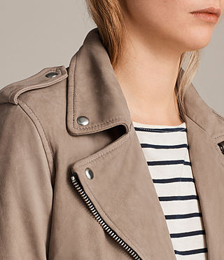 Mujer Balfern Leather Biker Jacket (MUSHROOM BROWN) - Image 2