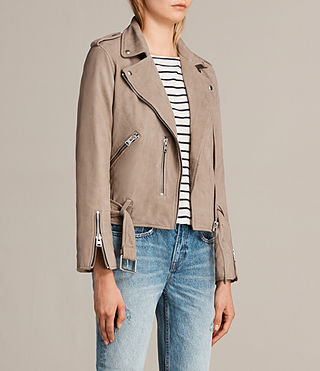 Mujer Balfern Leather Biker Jacket (MUSHROOM BROWN) - Image 6