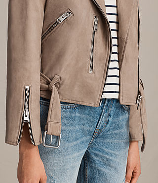 Mujer Balfern Leather Biker Jacket (MUSHROOM BROWN) - Image 7