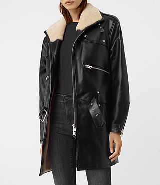 Womens Collins Leather Shearling Coat (Black)