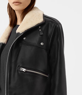 Womens Collins Leather Shearling Coat (Black) - product_image_alt_text_2