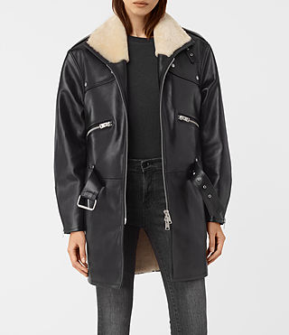 Womens Collins Leather Shearling Coat (Black) - product_image_alt_text_3