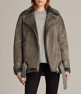 Women's Hawley Oversized Shearling Jacket (Khaki Green) - Image 1
