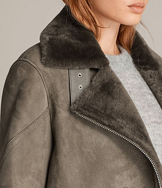 Women's Hawley Oversized Shearling Jacket (Khaki Green) - Image 2