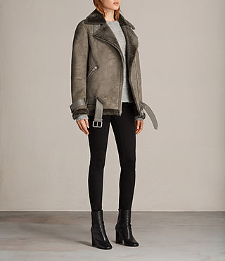 Women's Hawley Oversized Shearling Jacket (Khaki Green) - Image 4