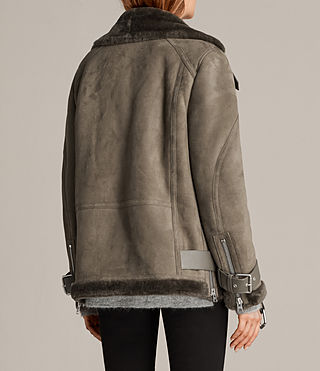 Women's Hawley Oversized Shearling Jacket (Khaki Green) - Image 5