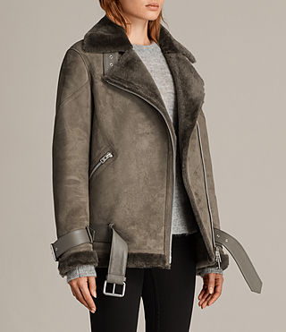 Women's Hawley Oversized Shearling Jacket (Khaki Green) - Image 7