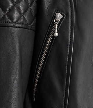 Women's Ainsdale Leather Biker Jacket (Black) - product_image_alt_text_5