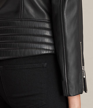 Women's Ainsdale Leather Biker Jacket (Black) - product_image_alt_text_6