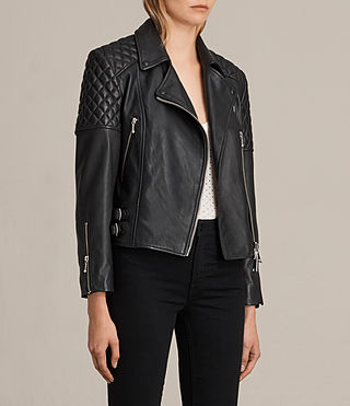 Women's Ainsdale Leather Biker Jacket (Black) - product_image_alt_text_7