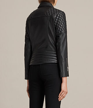 Women's Ainsdale Leather Biker Jacket (Black) - product_image_alt_text_8