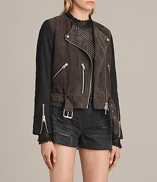 Womens Jensen Suede Biker Jacket (KHAKI GREEN/BLACK) - product_image_alt_text_6