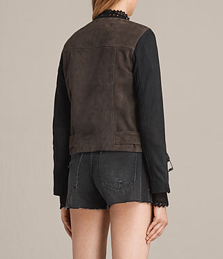 Womens Jensen Suede Biker Jacket (KHAKI GREEN/BLACK) - product_image_alt_text_8