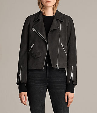 Womens Chine Suede Biker Jacket (Washed Black) - Image 1
