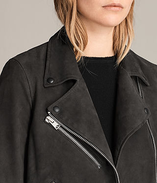 Womens Chine Suede Biker Jacket (Washed Black) - Image 2