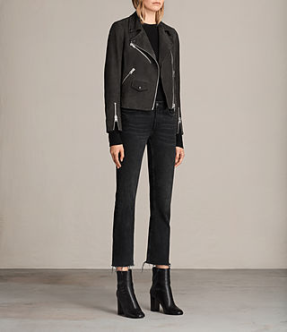 Womens Chine Suede Biker Jacket (Washed Black) - Image 3